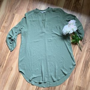 Lush 3/4 length sleeves green blouse size M